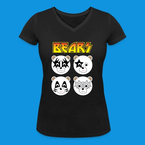 Kiss Bears square.png - Women's Organic V-Neck T-Shirt by Stanley & Stella