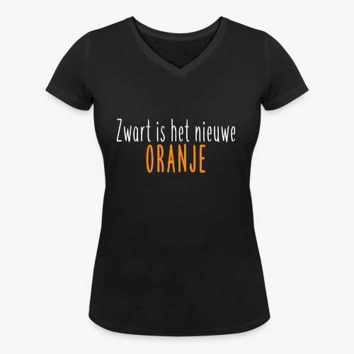 Zwart is het nieuwe oranje - Vrouwen bio T-shirt met V-hals van Stanley & Stella