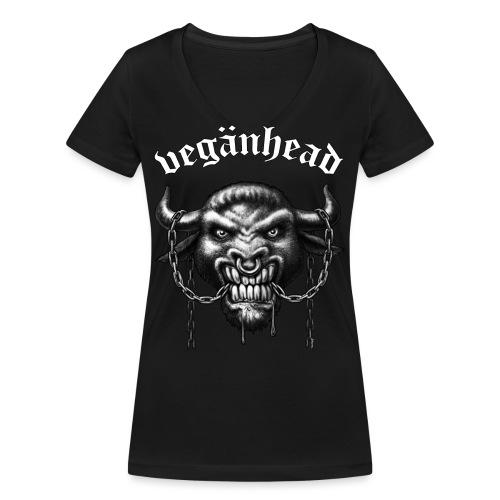 Veganhead - Frauen Bio-T-Shirt mit V-Ausschnitt von Stanley & Stella