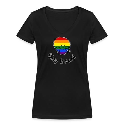 Gay Baaa! Rainbow Pride Sheep (edizione nera) - T-shirt ecologica da donna con scollo a V di Stanley & Stella