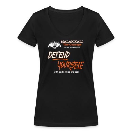 MKlogo defend tshirt2 - Frauen Bio-T-Shirt mit V-Ausschnitt von Stanley & Stella
