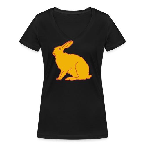 Gelber Hase - Frauen Bio-T-Shirt mit V-Ausschnitt von Stanley & Stella