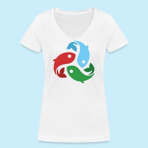 De fiskede fisk - Økologisk Stanley & Stella T-shirt med V-udskæring til damer