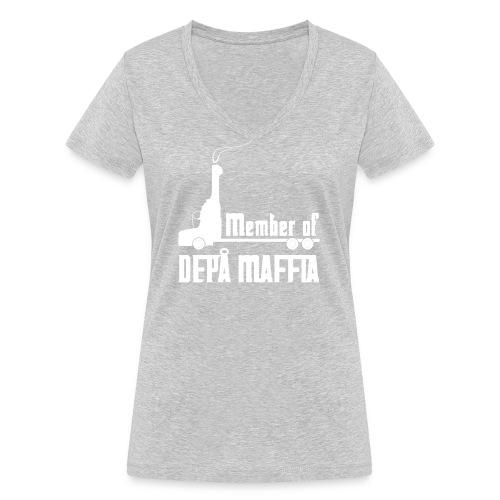 Depå Maffia vitt tryck - Ekologisk T-shirt med V-ringning dam från Stanley & Stella
