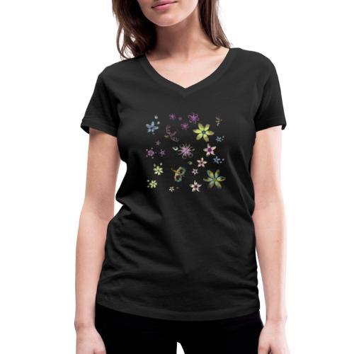 flowers and butterflies - T-shirt ecologica da donna con scollo a V di Stanley & Stella