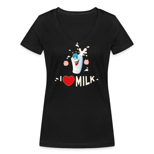I love Milk Kuh Weide Sahne Schokolade Milchkaffee - Frauen Bio-T-Shirt mit V-Ausschnitt von Stanley & Stella