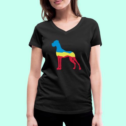 Flaggen Dogge - Frauen Bio-T-Shirt mit V-Ausschnitt von Stanley & Stella