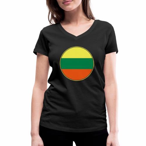 Litauen Flagge Rund Pixellamb - Frauen Bio-T-Shirt mit V-Ausschnitt von Stanley & Stella
