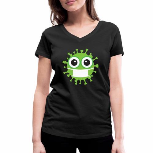 Uśmiechnij się pod maską - Ekologiczna koszulka damska z dekoltem w serek Stanley & Stella