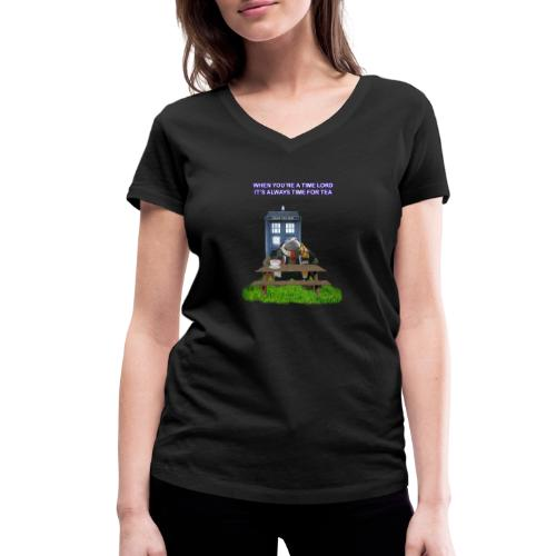 TIME AND SPACE AND TEA - Women's Organic V-Neck T-Shirt by Stanley & Stella