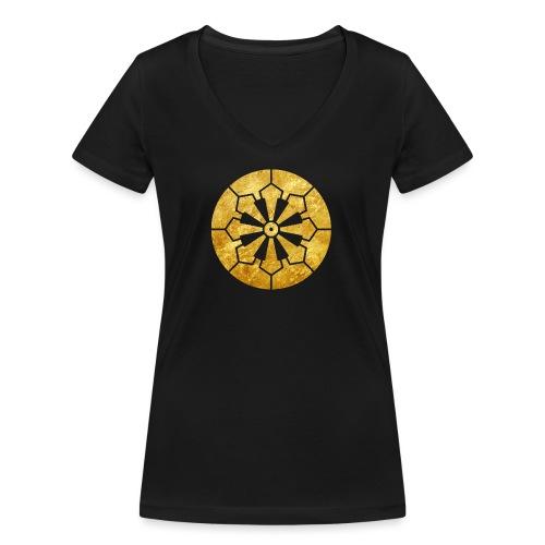 Sanja Matsuri Komagata mon gold - Women's Organic V-Neck T-Shirt by Stanley & Stella