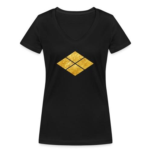 Takeda kamon Japanese samurai clan faux gold - Women's Organic V-Neck T-Shirt by Stanley & Stella