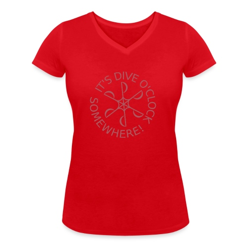 Dive o clock Dark Pink - Women's Organic V-Neck T-Shirt by Stanley & Stella