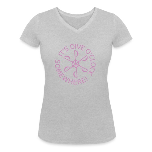 diveoclocklogodlpink png - Women's Organic V-Neck T-Shirt by Stanley & Stella