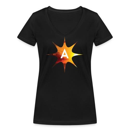 Sunshine Hoodie White - Ekologiczna koszulka damska z dekoltem w serek Stanley & Stella