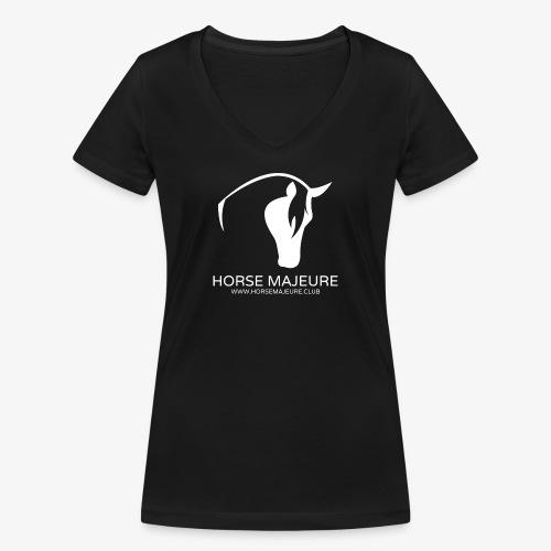 Horse Majeure Logo / Valkoinen - Stanley & Stellan naisten v-aukkoinen luomu-T-paita