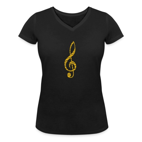Goldenes Musik Schlüssel Symbol Chopped Up - Women's Organic V-Neck T-Shirt by Stanley & Stella
