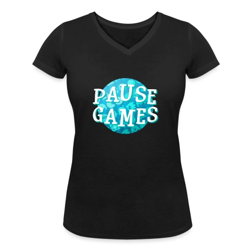 Pause Games New Design Blue - Women's Organic V-Neck T-Shirt by Stanley & Stella