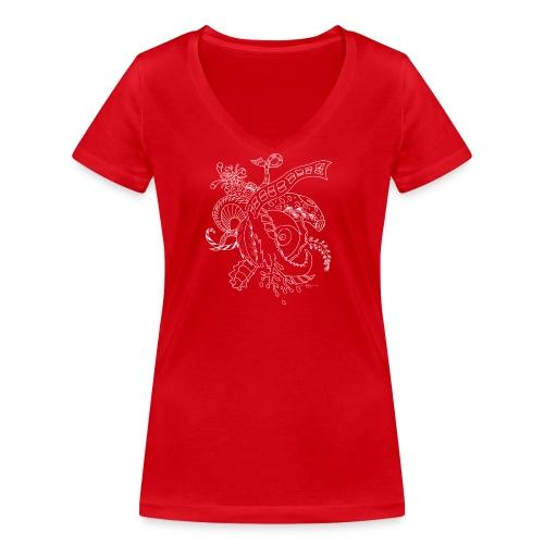 Fantasia valkoinen scribblesirii - Stanley & Stellan naisten v-aukkoinen luomu-T-paita