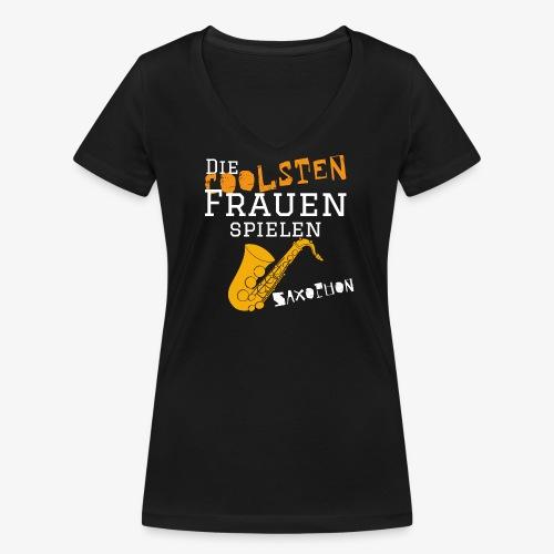 Die coolsten_Frauen_Saxop - Frauen Bio-T-Shirt mit V-Ausschnitt von Stanley & Stella