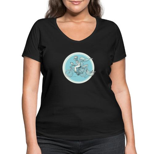 To the Beach - Backround - Frauen Bio-T-Shirt mit V-Ausschnitt von Stanley & Stella