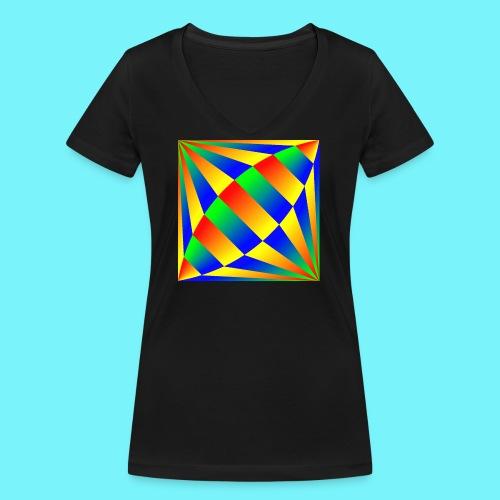 Giant cufflink design in blue, green, red, yellow. - Women's Organic V-Neck T-Shirt by Stanley & Stella
