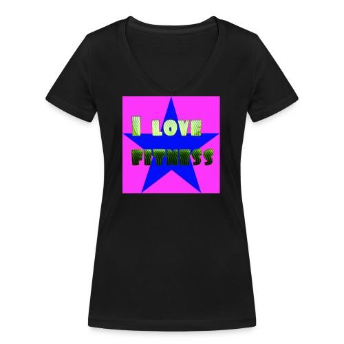 I love fitness 2 - Camiseta ecológica mujer con cuello de pico de Stanley & Stella