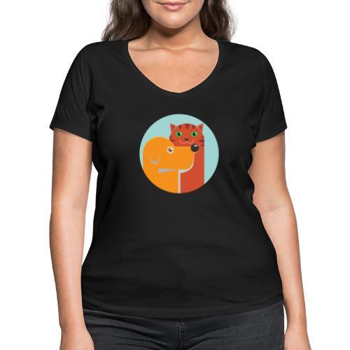 Tierfreund - Frauen Bio-T-Shirt mit V-Ausschnitt von Stanley & Stella