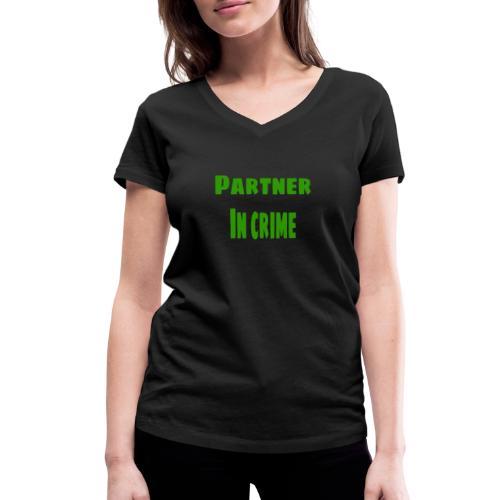 Partner in crime green - Ekologisk T-shirt med V-ringning dam från Stanley & Stella