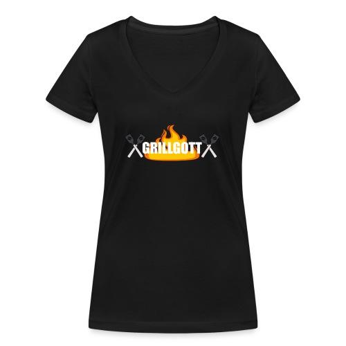 Grillgott Barbecue Experte - Frauen Bio-T-Shirt mit V-Ausschnitt von Stanley & Stella