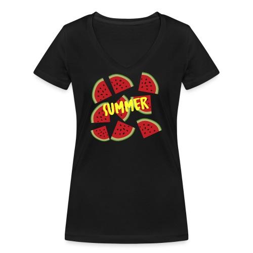 Sommer Sonne Wassermelone - Frauen Bio-T-Shirt mit V-Ausschnitt von Stanley & Stella