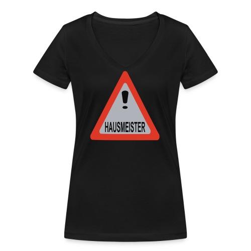 achtung vorsicht hausmeister - Frauen Bio-T-Shirt mit V-Ausschnitt von Stanley & Stella