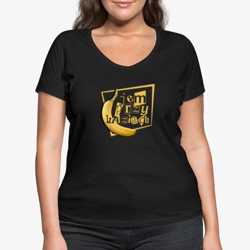 Jem przy ludziach - Ekologiczna koszulka damska z dekoltem w serek Stanley & Stella