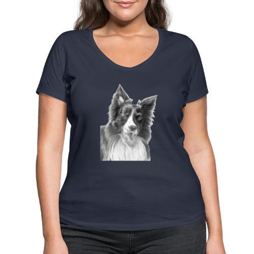 border collie 3 - Økologisk Stanley & Stella T-shirt med V-udskæring til damer