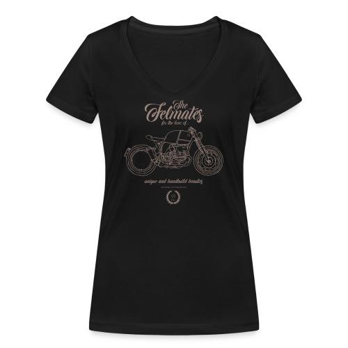 the felmates motorbikes outlines bronze 2 - Frauen Bio-T-Shirt mit V-Ausschnitt von Stanley & Stella