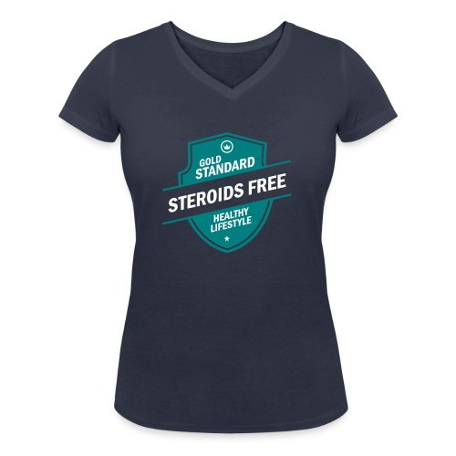 GoldStd-SteroidsFree-33 - Women's Organic V-Neck T-Shirt by Stanley & Stella