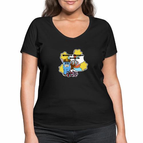 Une merveilleuse licorne est née (pour garcon) - T-shirt bio col V Stanley & Stella Femme