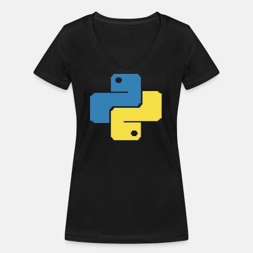 Python Pixelart - Frauen Bio-T-Shirt mit V-Ausschnitt von Stanley & Stella
