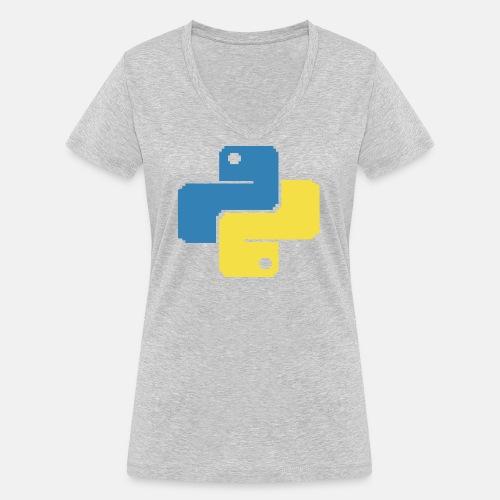 Python Pixelart - Women's Organic V-Neck T-Shirt by Stanley & Stella