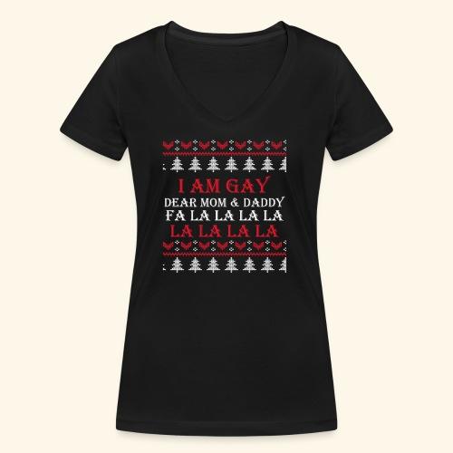 Gay Christmas sweater - Ekologiczna koszulka damska z dekoltem w serek Stanley & Stella