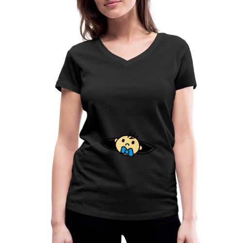 Wir bekommen ein Baby Lade Baby Design T-Shirt - Frauen Bio-T-Shirt mit V-Ausschnitt von Stanley & Stella