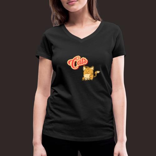 Katze | Katzen süß Schriftzug - Frauen Bio-T-Shirt mit V-Ausschnitt von Stanley & Stella