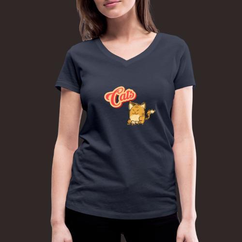 Katze   Katzen süß Schriftzug - Frauen Bio-T-Shirt mit V-Ausschnitt von Stanley & Stella