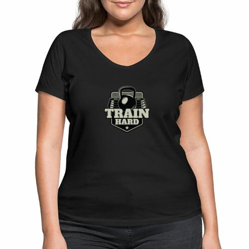 Train Hard - Frauen Bio-T-Shirt mit V-Ausschnitt von Stanley & Stella