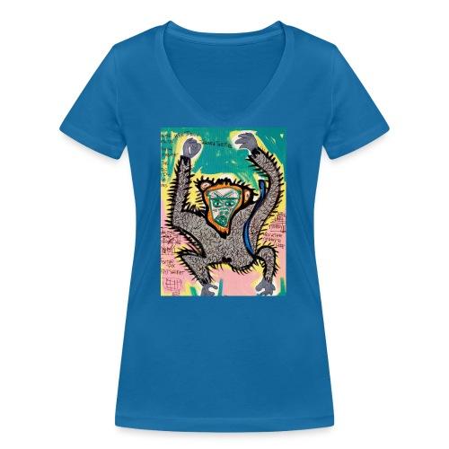 the monkey - T-shirt ecologica da donna con scollo a V di Stanley & Stella