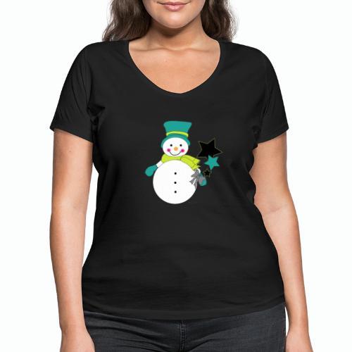Snowtime-Green - Frauen Bio-T-Shirt mit V-Ausschnitt von Stanley & Stella