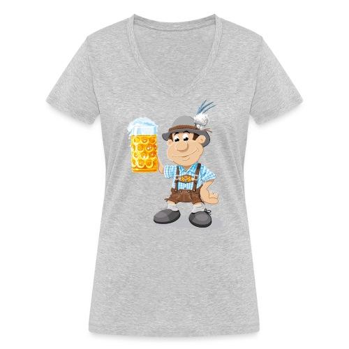 Bier Maßkrug Lederhosen Cartoon Man - Frauen Bio-T-Shirt mit V-Ausschnitt von Stanley & Stella