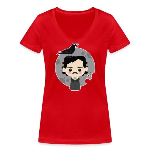 Edgar Allan Poe - T-shirt ecologica da donna con scollo a V di Stanley & Stella