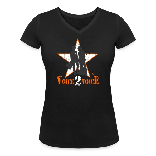 Voice 2 Voice Logo USED 14 12 2014 png - Frauen Bio-T-Shirt mit V-Ausschnitt von Stanley & Stella