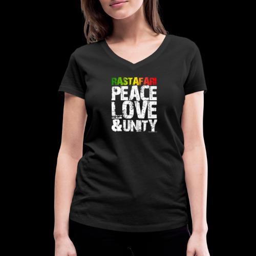 RASTAFARI - PEACE LOVE & UNITY - Frauen Bio-T-Shirt mit V-Ausschnitt von Stanley & Stella
